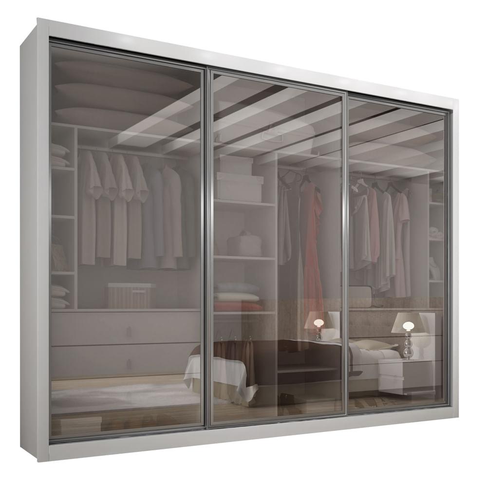 Guarda roupa 3 portas com vidro branco boston r - Armario de la tv ...