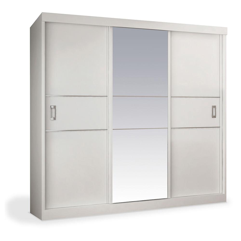 Armario Espelho Para Quarto : Arm?rio portas de correr com espelho central branco