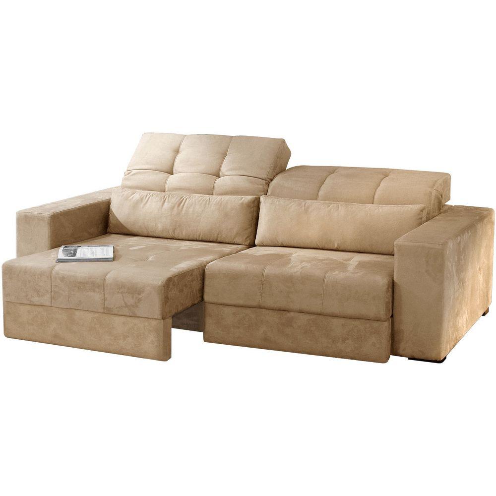 Sof retr til e reclin vel 3 lugares suede bege escuro for Sofa 4 lugares retratil e reclinavel