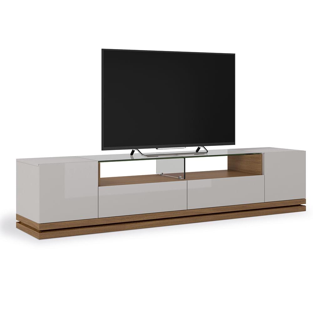Rack Baixo Para Sala De Tv ~ Rack para TV até 40kg com Tampo em Vidro 10mm, Off White com Natural