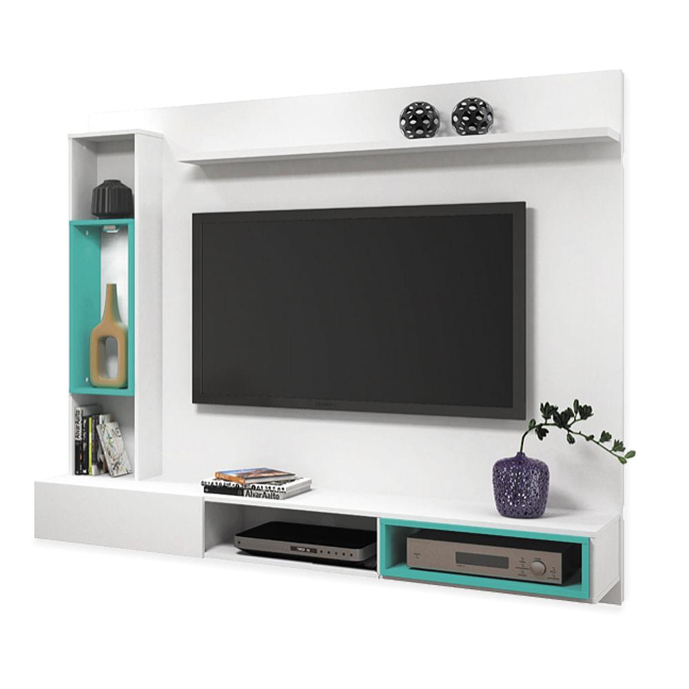 Painel para tv at 50 com suporte branco acetinado com - Azul turquesa pared ...