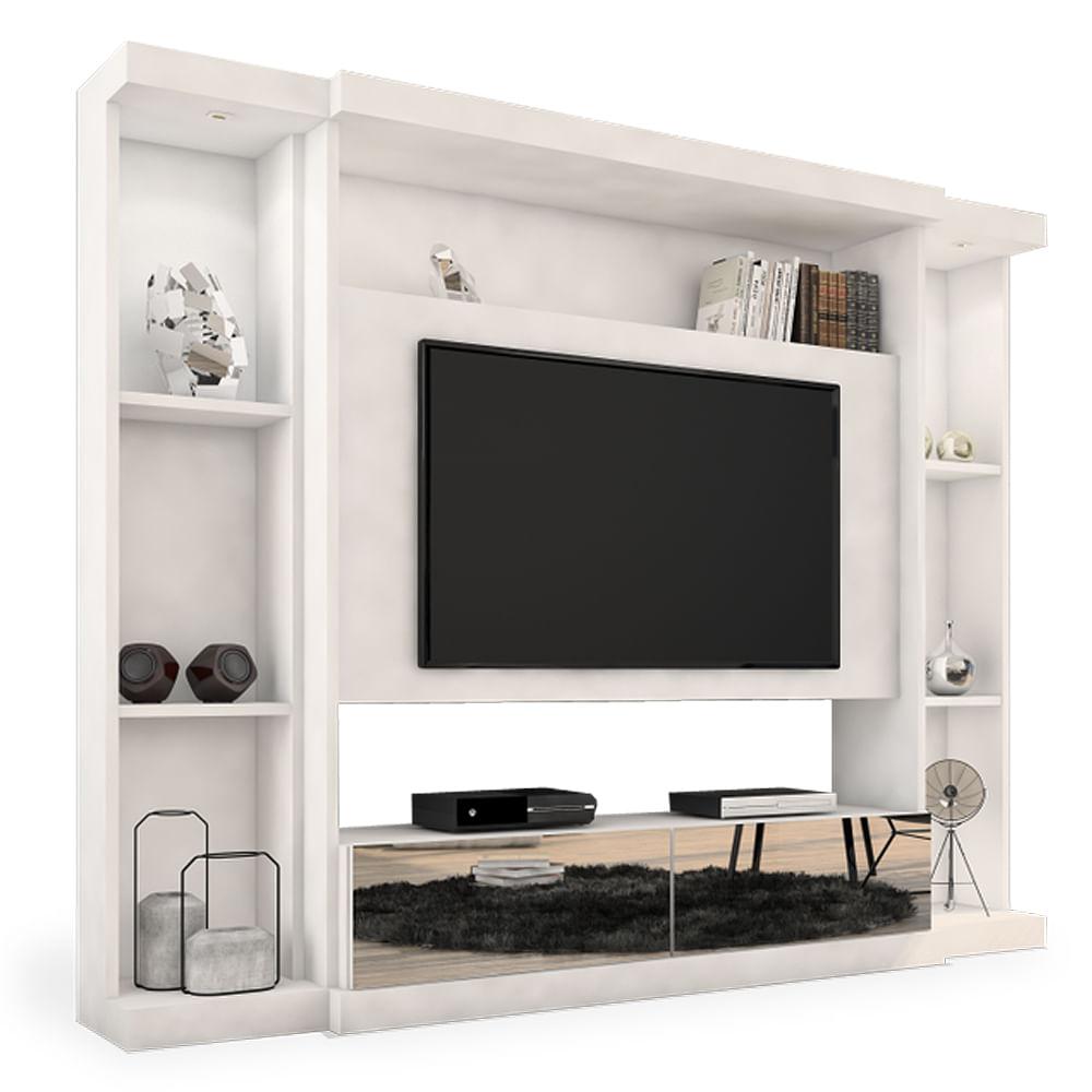 Estante Home Para Sala De Tv ~ Estante Home Theater para TV até 60 polegadas Branco Acetinado com 2