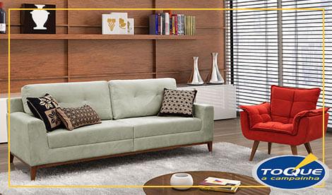 Sala de estar com sofa de 3 lugares