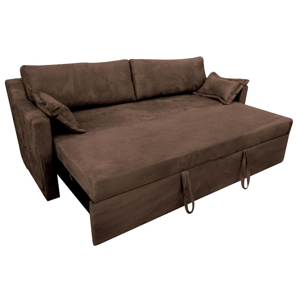 Sof cama casal rocca marrom com 2 almofadas decorativas for Outlet de sofa cama