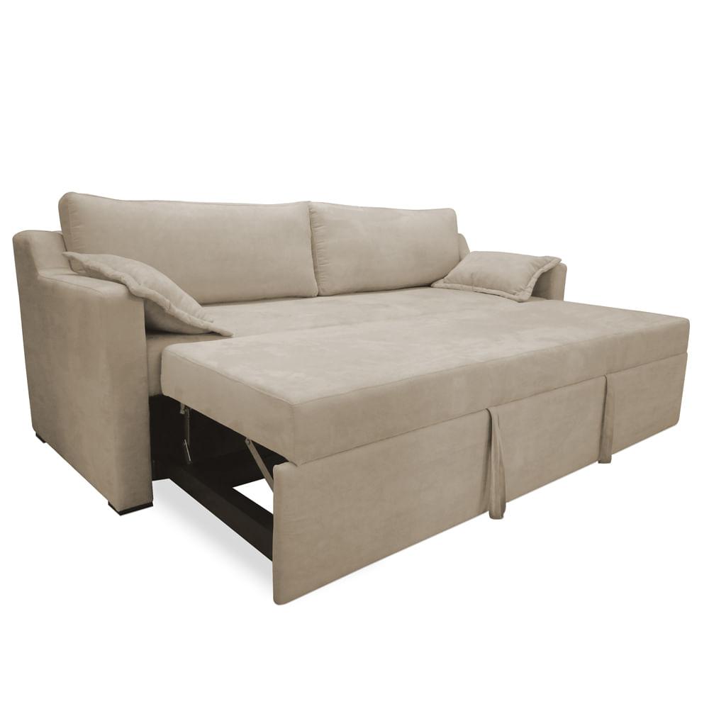 Sof cama casal com 2 almofadas decorativas rocca bege for Outlet de sofa cama