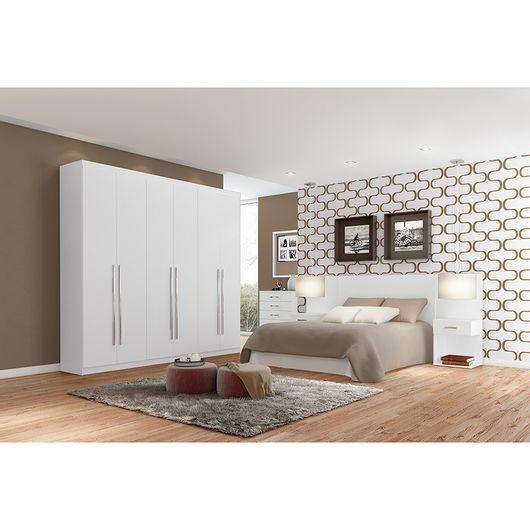 Conjunto quarto de casal branco com arm rio judy for Conjunto de dormitorio completo