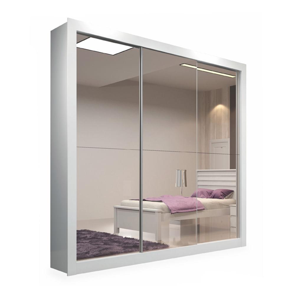 Armario quarto casal com espelho : Guarda roupa portas correr com espelho branco malta