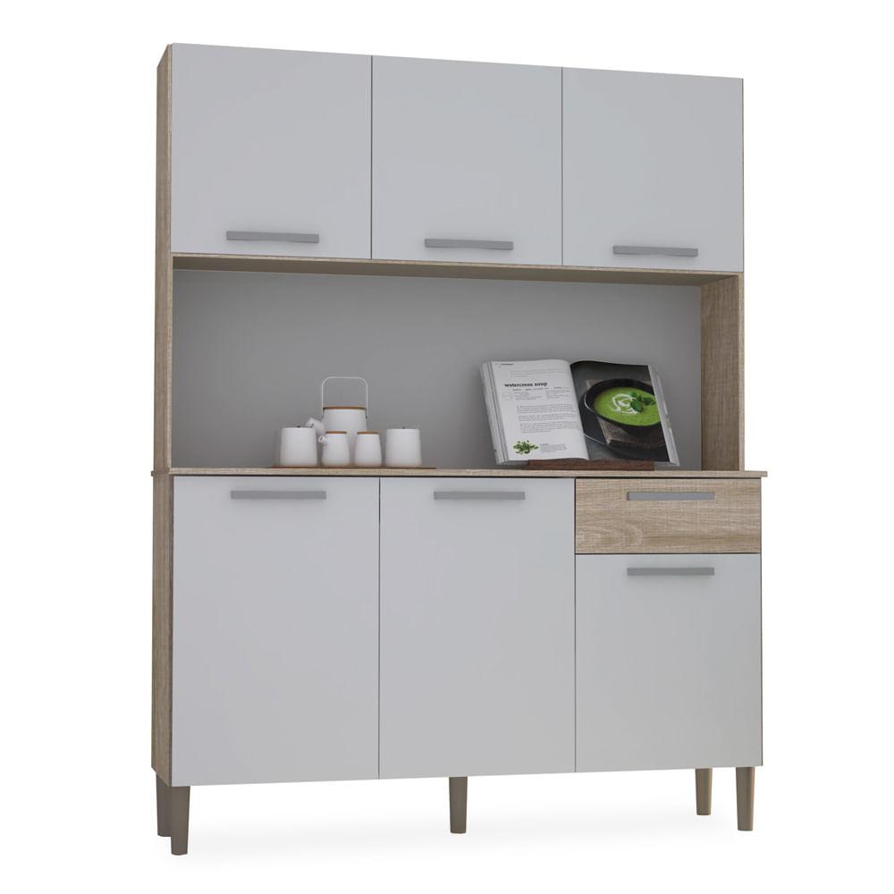Kit Cozinha Compacta Nogal Com Branco Maia Toqueacampainha