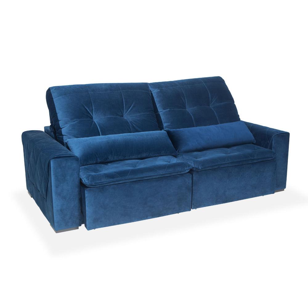 Sofa Retratil E Reclinavel Ravena Azul Austin Toqueacampainha