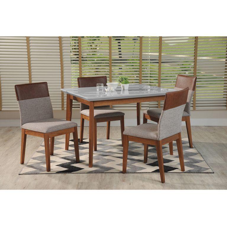 91c0dc5f1f07 Conjunto Sala de Jantar com Mesa Branco Gloss com Natural e 4 ...