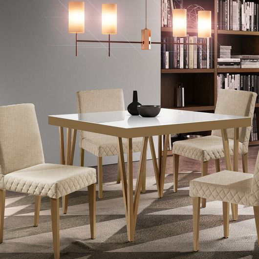 Conjunto de Sala de Jantar com Mesa e 4 cadeiras Olímpia