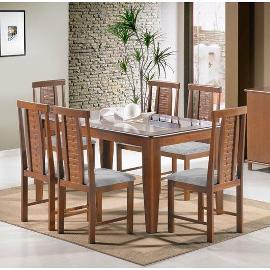 Conjunto para Sala de Jantar com Mesa Retangular e 6 Cadeiras, Castanho Claro, Indiana