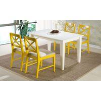 Conjunto para Sala de Jantar com Mesa Retangular Branca e 4 Cadeiras Amarelas, Turim