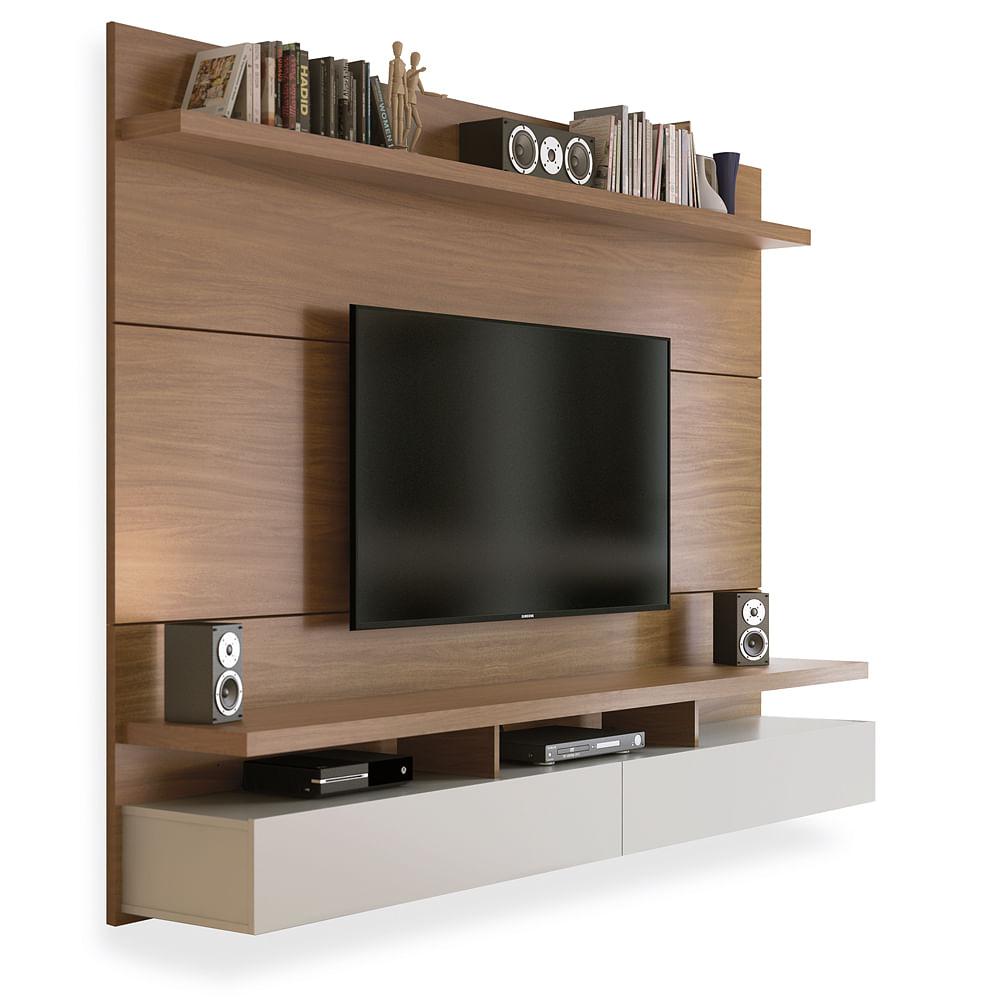 Painel Para Tv At 60 Polegadas Natural Com Off White 2 20m Ferraz  -> Foto Painel Para Tv