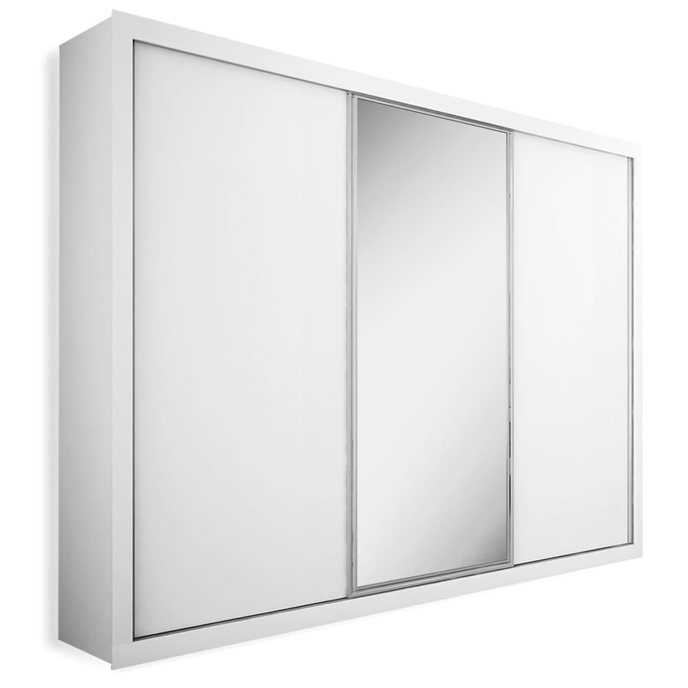 Resultado de imagem para Armário 3 portas de correr com espelho, Branco Fosco, Premium Plus